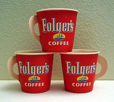 3 Folgers Waxed Adv Sample Coffee Cups Old Store Stock