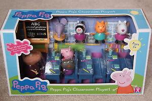 PEPPA-PIG-CLASSROOM-PLAYSET-7-FIGURES-BUNDLE-NEW-VERY-RARE
