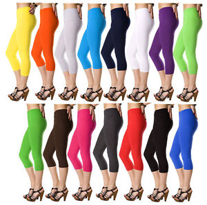 Lovely-3-4-Length-Cotton-Leggings-Classic-Pants-Stretch-Active-Unique-Colours