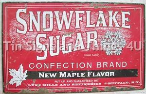 Snowflake-Sugar-TIN-SIGN-maple-kitchen-rustic-retro-vtg-metal-wall-decor-red-OHW