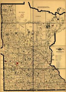 24x36-Vintage-Reproduction-Railroad-Train-Historic-Map-Minnesota-1897