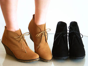 Comfy-Wedge-Lace-Up-Round-Toe-Booties-Ankle-Boots-Suede