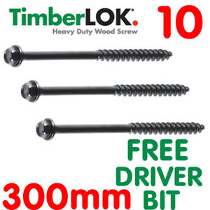 10, 300mm GENUINE TIMBERLOK SLEEPER SCREW - FREE BIT