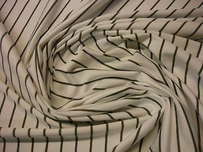 1 Laufmeter Jersey 2,41€/m² Microfaser weiß mit grauen Streifen N22