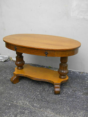 EARLY 1900'S VICTORIAN OAK OVAL CONSOLE TABLE / DESK   #  751