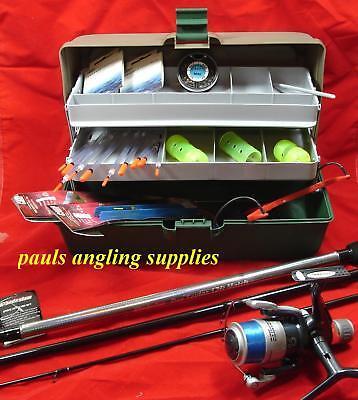 Fishing Tackle Box Rod Reel Floats Shot Feeders Hooks