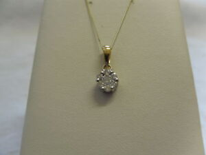 9ct-Yellow-Gold-25pt-1-4ct-Diamond-Set-Cluster-Pendant