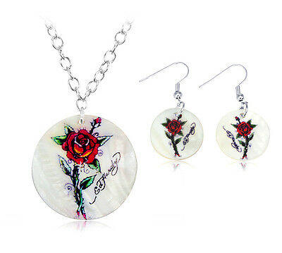 Summer Love By Ed Hardy Necklace Earrings Jewelry Set In Box
