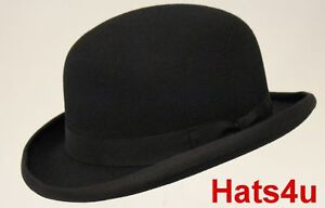BOWLER-HAT-BLACK-100-WOOL-S-M-L-XL-XXL-XXXL-56-57-58-59-60-61-62-64CM-NEW