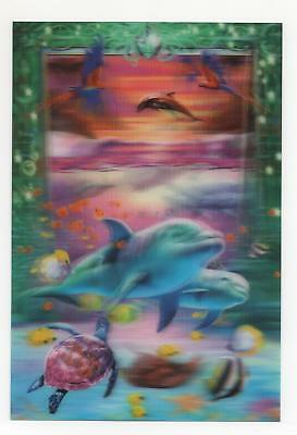 Sea Life Mini Poster 3d Lenticular Dolphins Turtle Fish Birds 4 3/4x7 Frameable