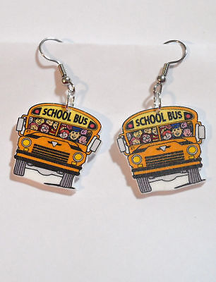 School Bus Earrings Bus Driver Children Charms