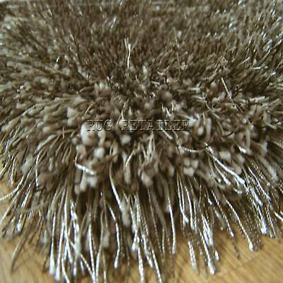 Two Tone Shiny Shaggy Rugs Beige Chocolate 160x230cm Bt