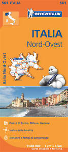 ITALY NORTH WEST MAP - MICHELIN 561 - NEW - REGIONAL - 2016