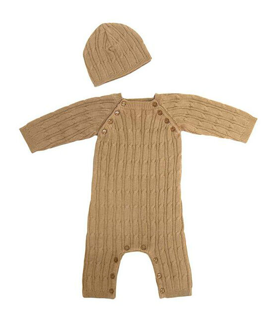 Tadpoles Cable Knit Romper and Hat Set