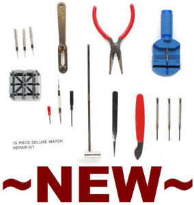 New Watch Man's 16 Piece Deluxe Watch Repair Tool Kit