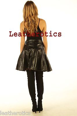 High Waisted Luxury Nappa Ladies Leather Skirt Black Long Pleated A Line 509