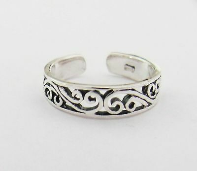 Sterling Silver filigree swirls narrow band toe ring