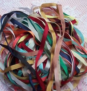 100-PURE-SILK-RIBBON-25-YD-ASSORTMT-1-4-7mm-WIDE