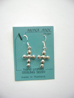 Sterling Silver Ball Cross Dangle Hook Earrings