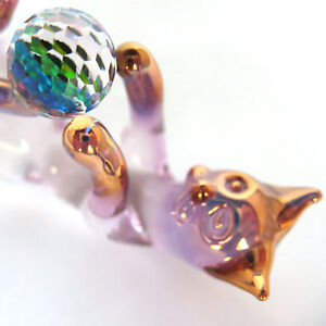 Cat-Kitten-Feline-Figurine-of-Hand-Blown-Glass-Crystal