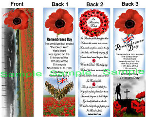3-Lot-Remembrance-Day-BOOKMARKS-Poppy-Field-UK-POPPIES-Union-Jack-Flag-England