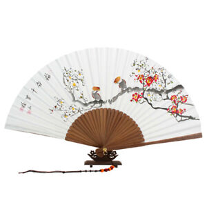 Hand Painted Folding White Paper Red Flower Painting Wall Decor Asian Bamboo Fan