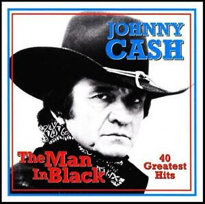 JOHNNY-CASH-2-CD-THE-MAN-IN-BLACK-40-GREATEST-HITS-BEST-OF-70s-NEW