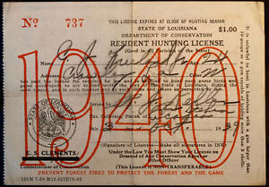 Rw6 duck stamp attached la hunting license bl9725 ebay for Fishing license in louisiana