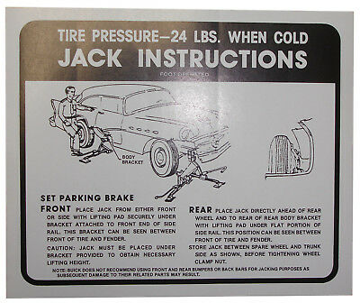 1956 Buick Jack Instructions Decal