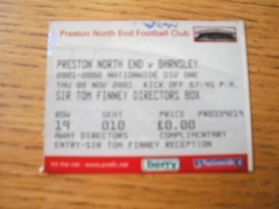 08/11/2001 Ticket: Preston North End v Barnsley  (Marke