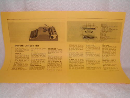Olivetti Lettera 32 Typewriter Instruction Manual Look