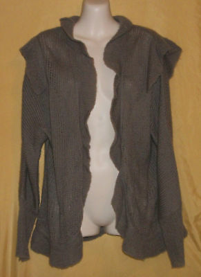 Romeo & Juliet Mocha Brown Womens Open Ruffle Wool Sweater Ls Cardigan Top M $88