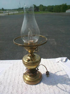details about vintage table lamp electric glass