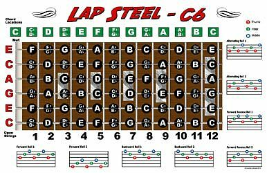 Lap Steel Guitar Fretboard Chart Poster C6 Tuning Notes on Rummage