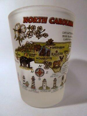 North Carolina Map Frosted Shot Glass Shotglass