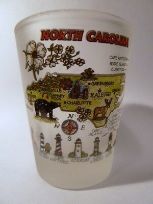 North Carolina Map Frosted Shot Glass Shotglass