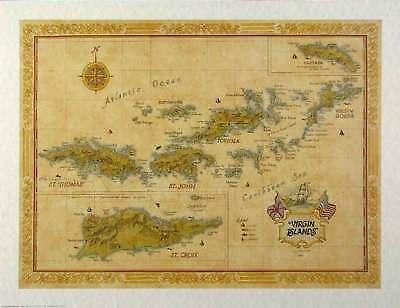 Antique Style VIRGIN ISLANDS Map
