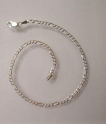 "Sterling Silver Solid Figaro Anklet  Bracelet Chain Length 10"" Width 3mm G1144"