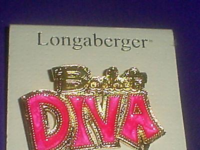 Longaberger Gold Plated Basket Diva Pin Pink Epoxy New