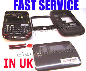 Blackberry 9300 Curve 3G Housing Battery Cover Fascia Screen Lens Keypad Red UK