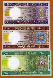 SET-Mauritania-100-200-500-Ouguiya-2006-2008-P-11-12-13-UNC