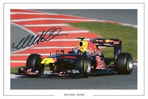 MARK WEBBER RED BULL SIGNED F1 FORMULA ONE AUTOGRAPH PHOTO PRINT