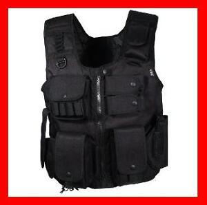 Law-Enforcement-SWAT-Police-Tactical-Military-VEST-Cobat-Pistol-Black-Gun
