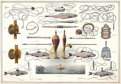 Angel Angler Fischer Fischen Köder Angelschnur Haken Reuse Netz 1890