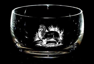 SHELTIE SHETLAND SHEEPDOG  *DOG GIFT* 12.5cm Boxed CRYSTAL GLASS SWEET BOWL