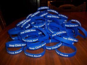 STOP CHILD ABUSE Blue Silicone Wristband Bracelet