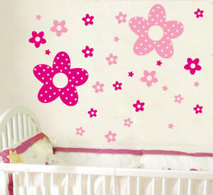 86-Pink-Flowers-Princess-Wall-Stickers-Art-Decal-Vinyl-Wallpaper-Decor-Girls