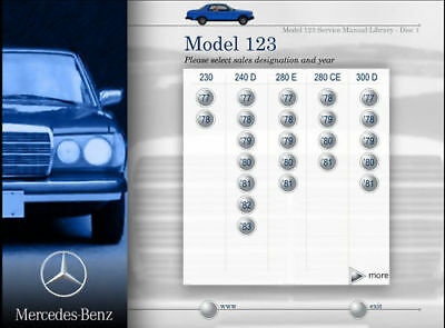 Mercedes Chassis 123 Service Manual 230 240d 280e 280ce 300d 300cd 300td Turbo