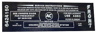 1967 Buick Air Cleaner Service Decal - 340-4v
