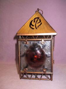 Brushed-Copper-Textured-Glass-Hanging-Tea-Light-Lantern-3-D-Ladybug-on-2-Doors